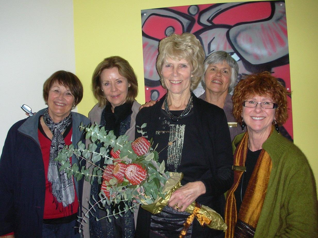 Di Hooton, Beth Tonsend, Margaret Ward, Barbara Davidson (President) and Pamela Fruin
