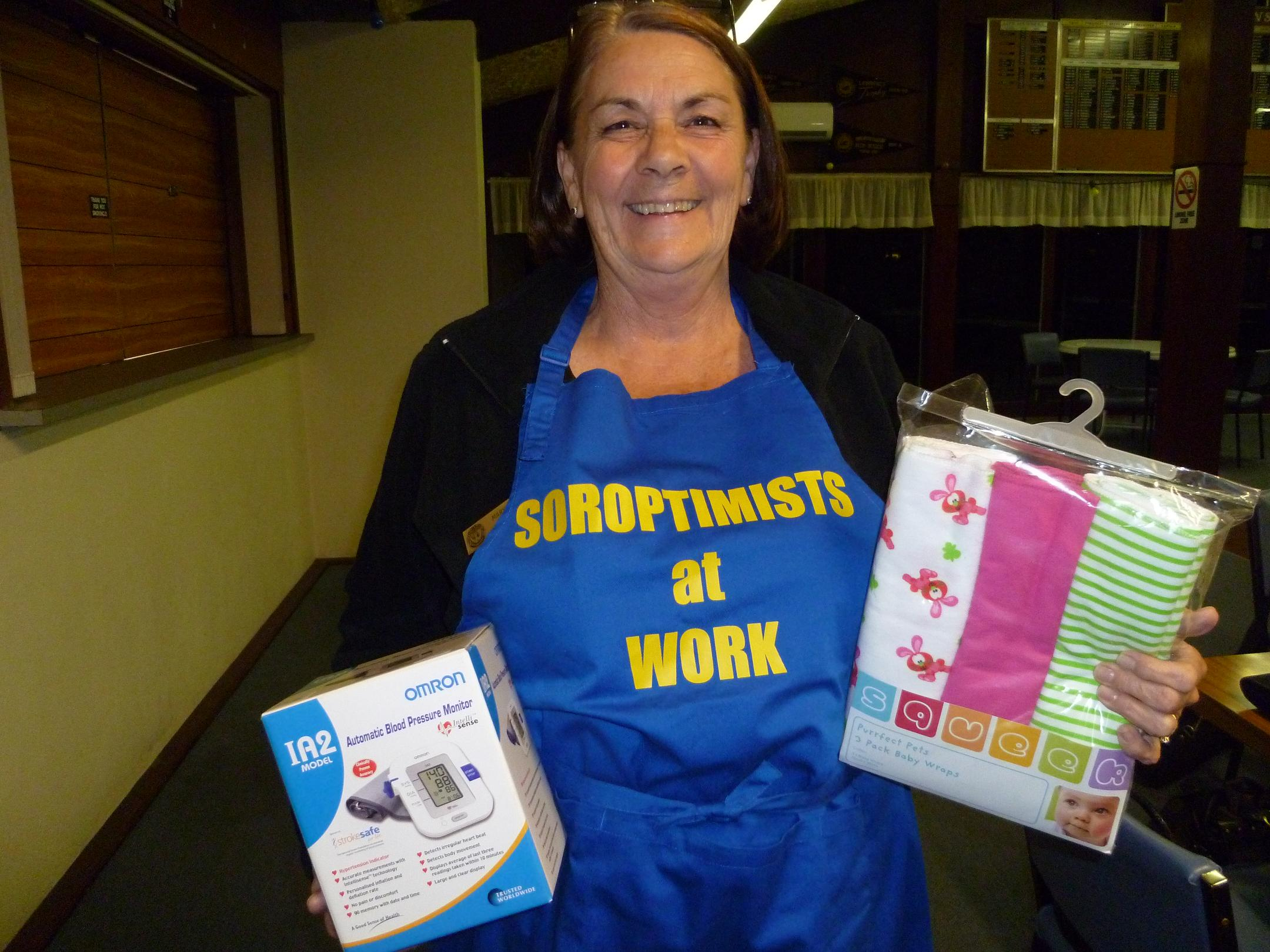 Mary Hayes with items for the birthing clinic